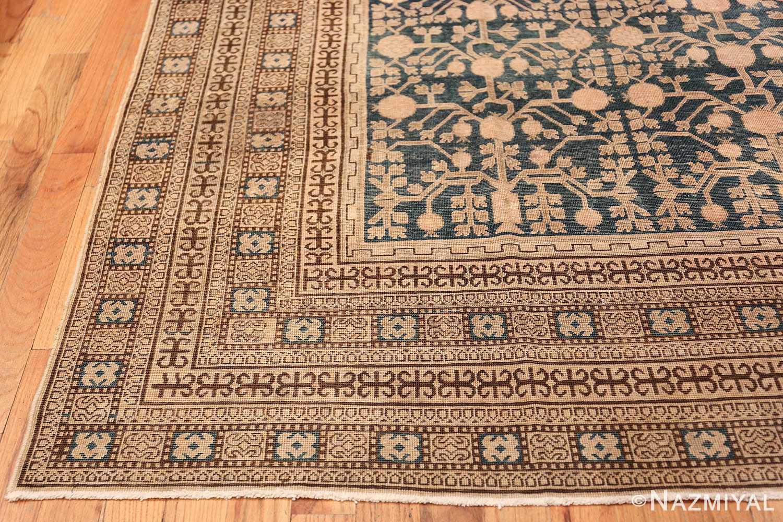 Blue Pomegranate Design Room Size Antique Khotan Rug 50094 Side Corner Nazmiyal