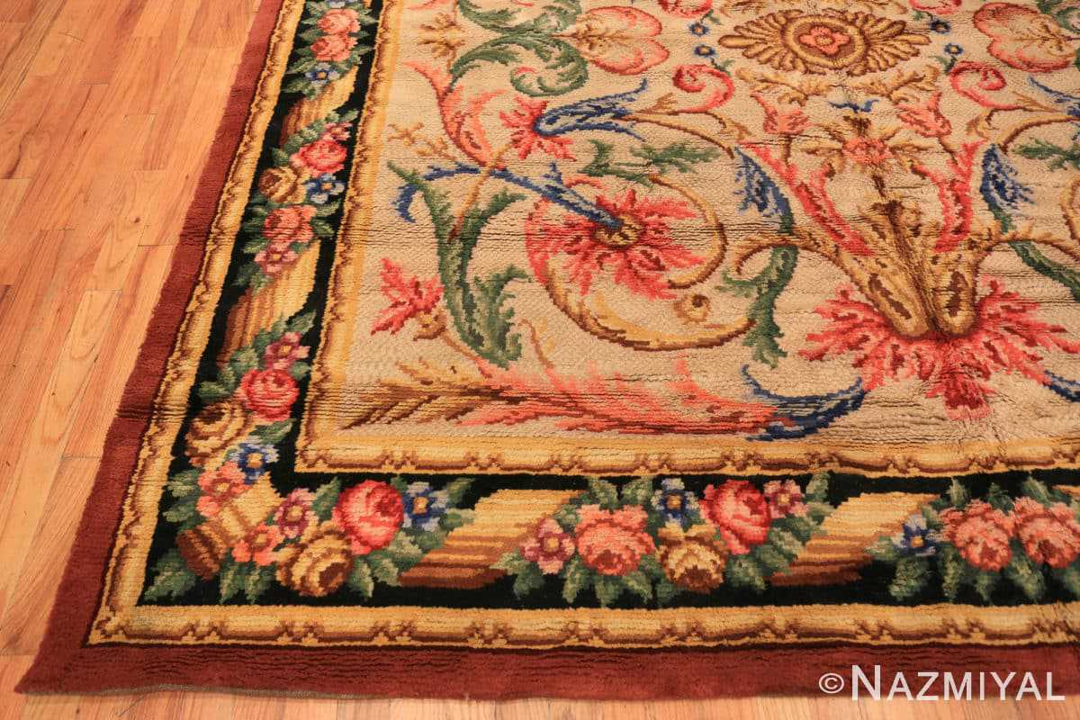 Corner Antique Spanish savonnerie rug 46823 by Nazmiyal Antique rugs