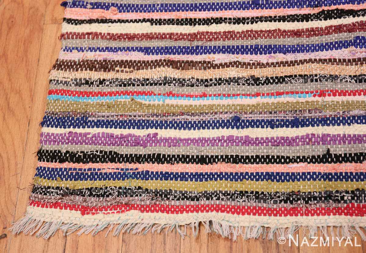 Corner Vintage Swedish rag runner rug 46659 by Nazmiyal