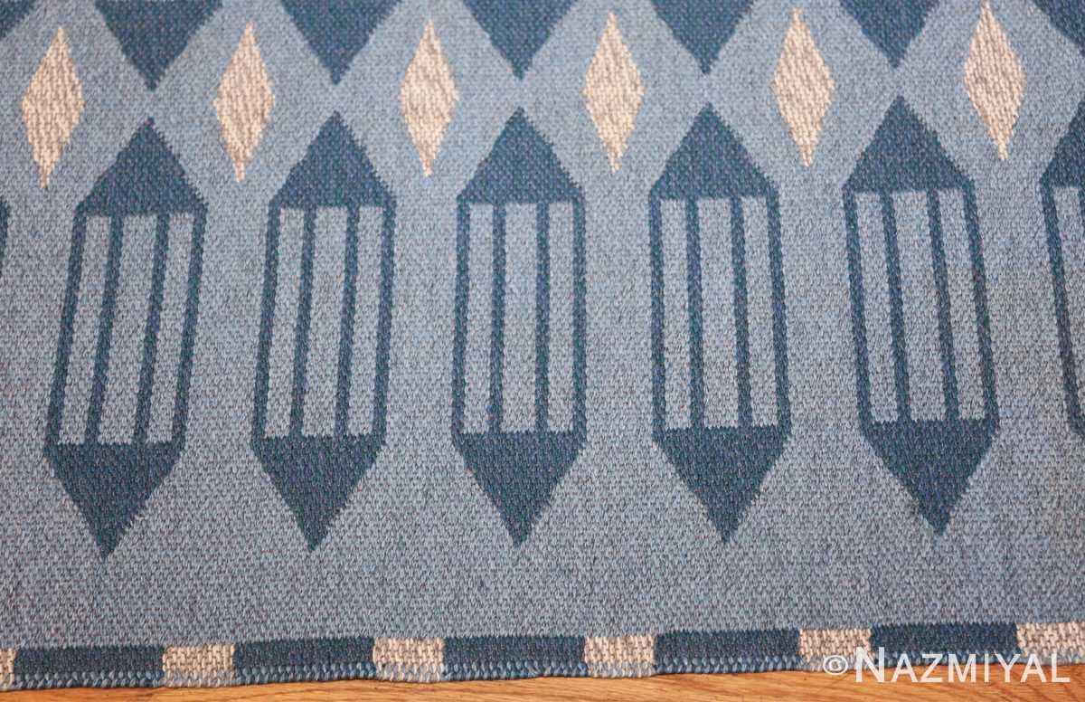 double sided vintage swedish carpet 48449 blue border Nazmiyal