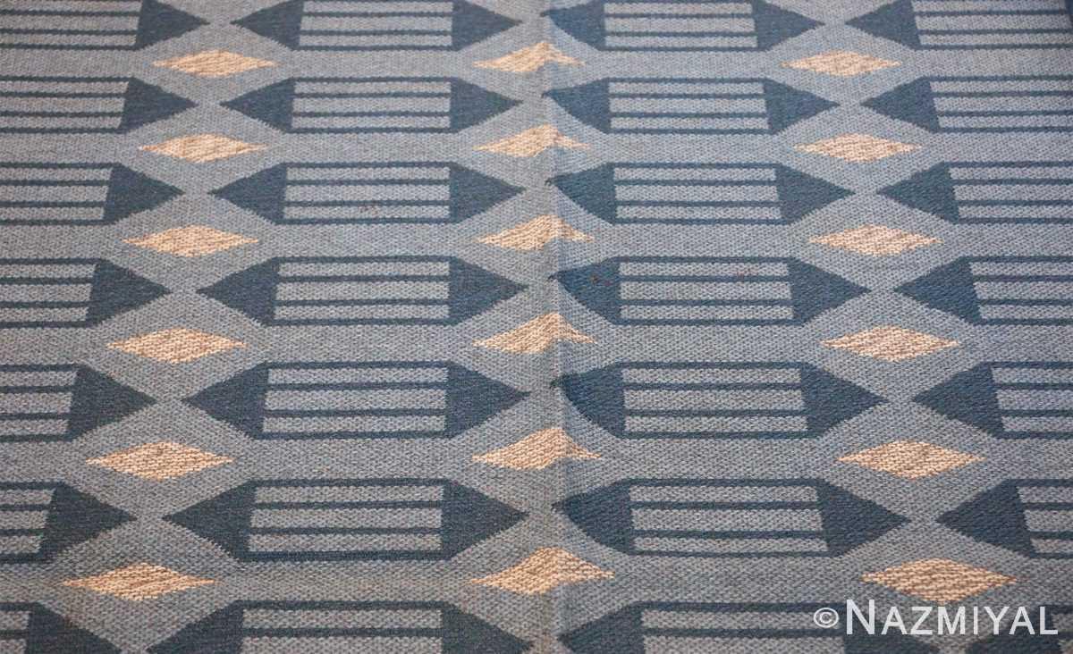 double sided vintage swedish carpet 48449 blue side Nazmiyal