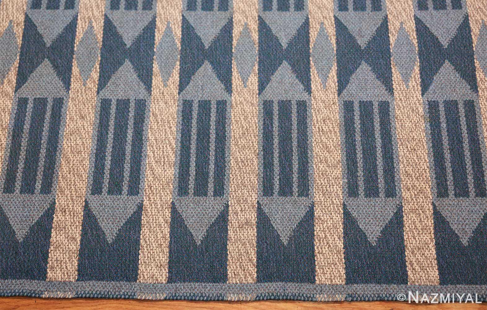 double sided vintage swedish carpet 48449 border Nazmiyal