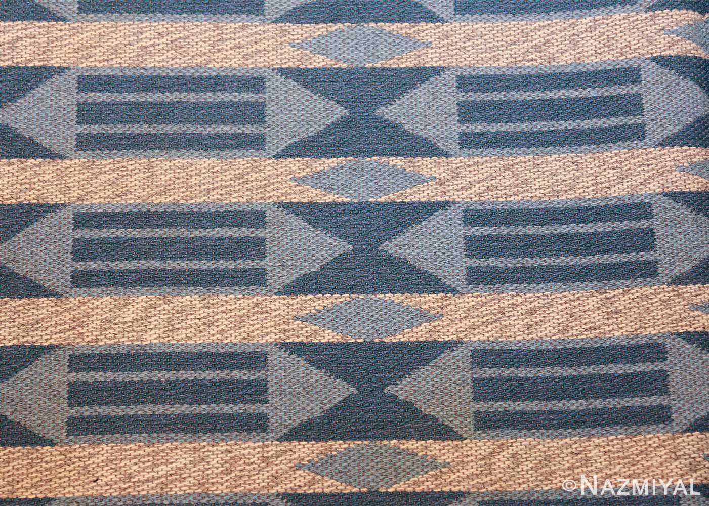 double sided vintage swedish carpet 48449 white side Nazmiyal