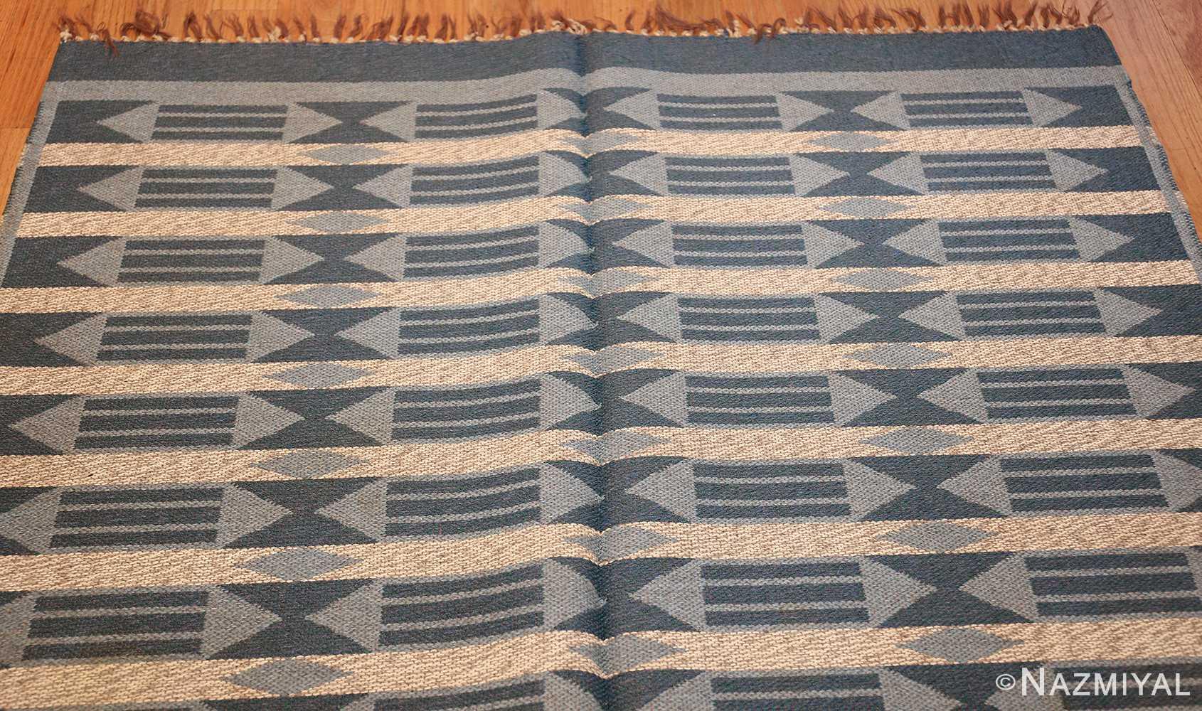 double sided vintage swedish carpet 48449 white top Nazmiyal