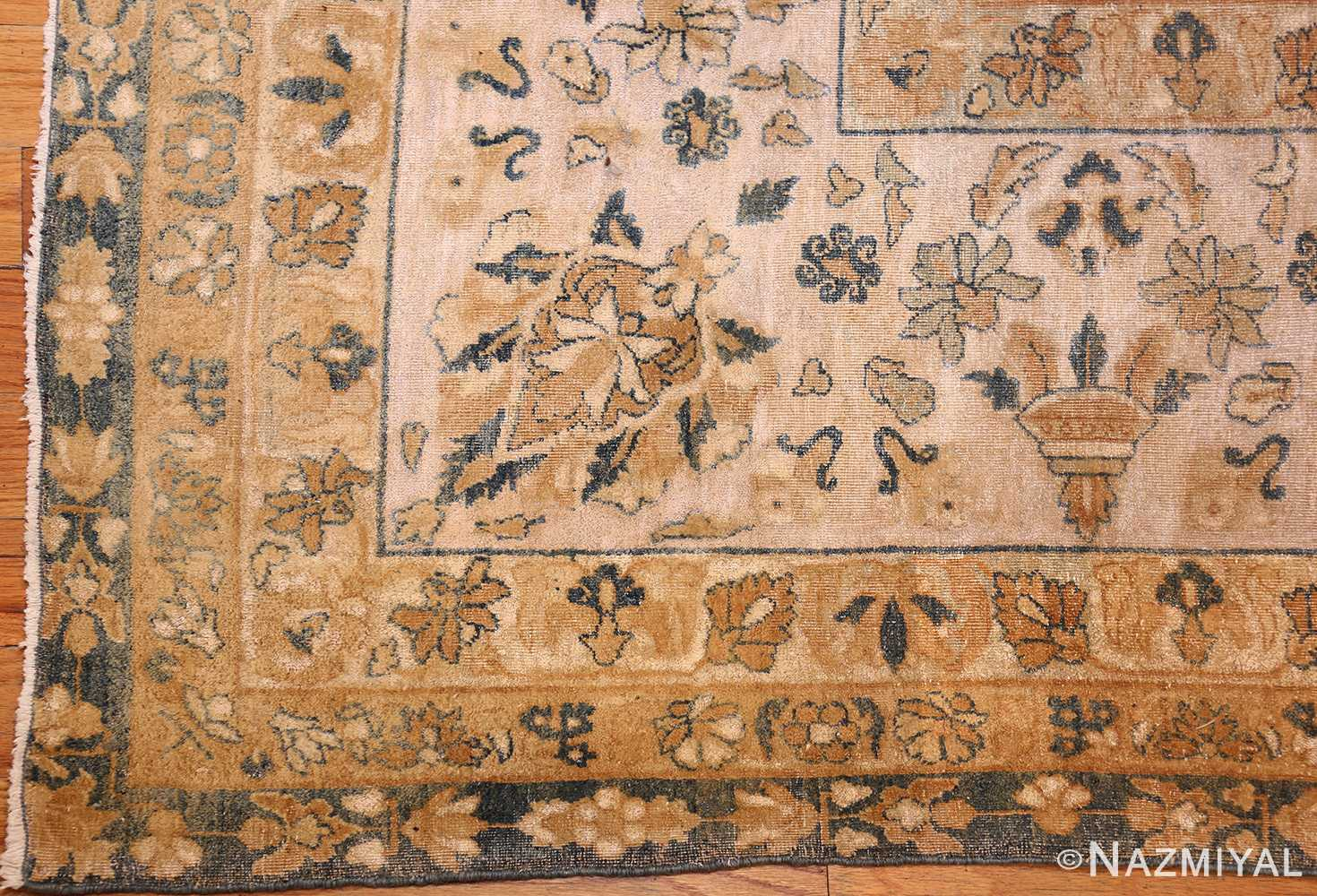 extra large oversized light blue antique persian kerman rug 48226 corner Nazmiyal