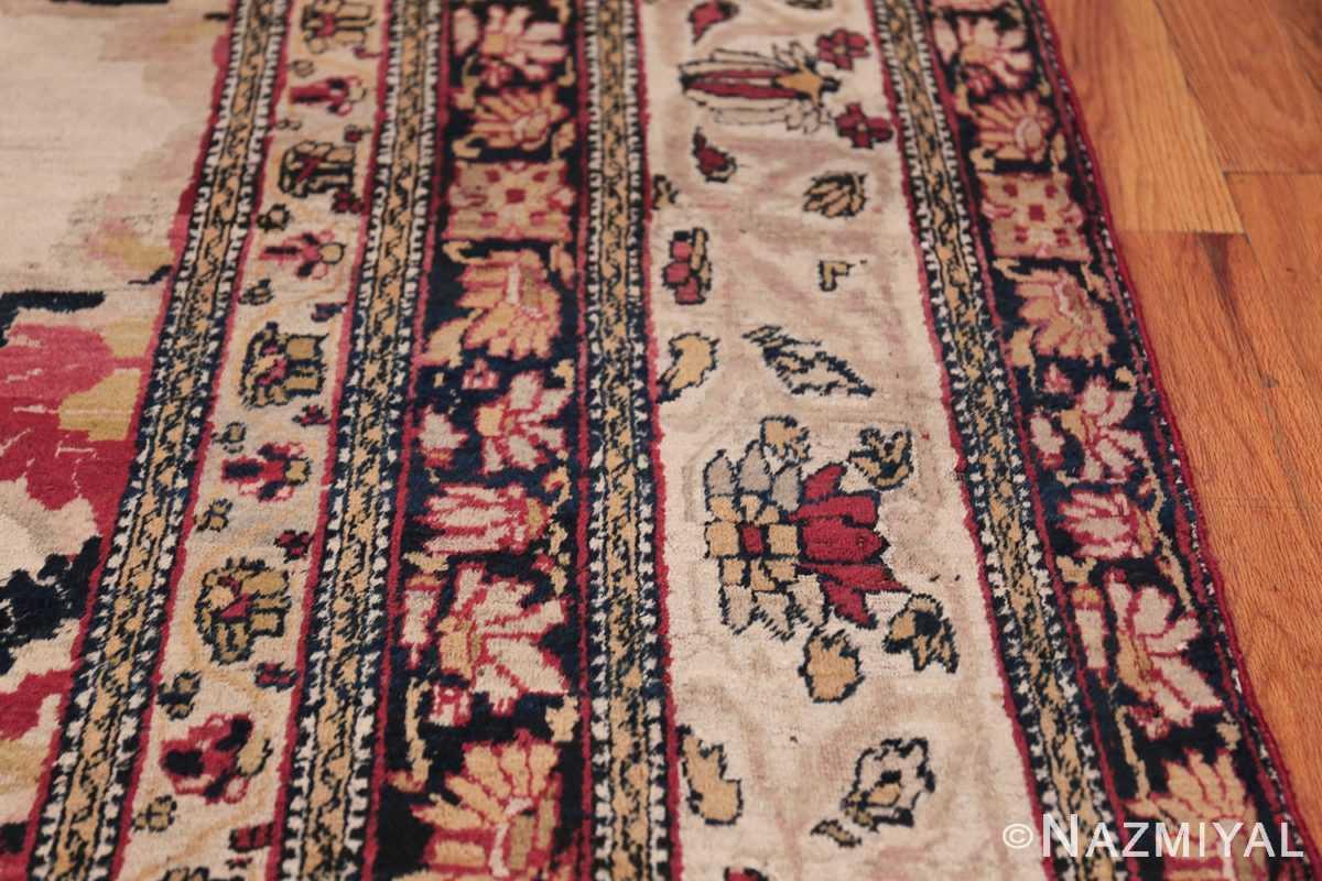 Fine Antique 19th Century Persian Kerman Rug 50146 Ivory Border Nazmiyal