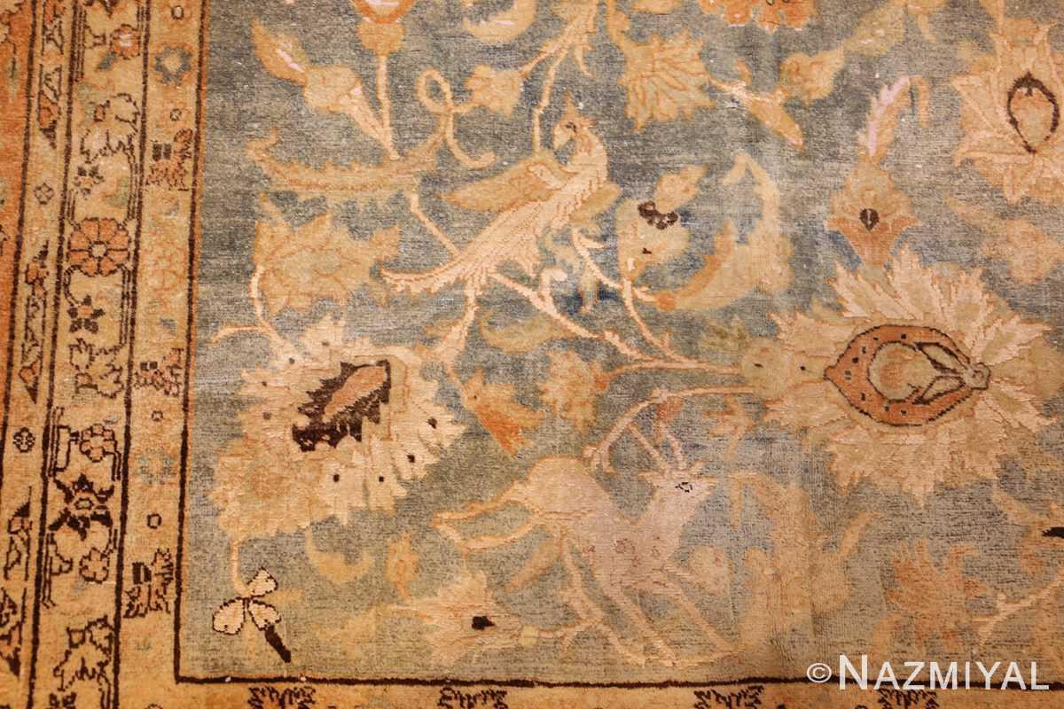 fine silk and wool antique persian tehran rug 48249 bird Nazmiyal