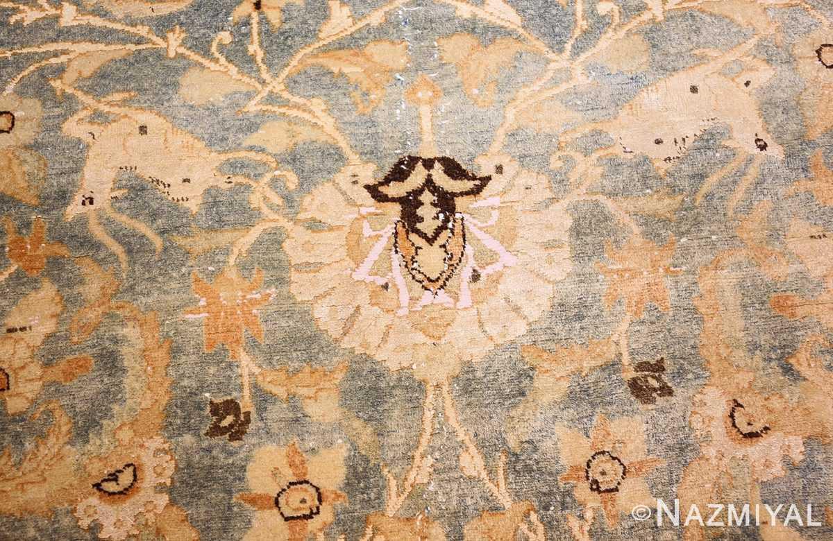 fine silk and wool antique persian tehran rug 48249 deer Nazmiyal