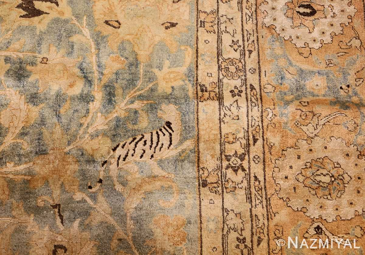 fine silk and wool antique persian tehran rug 48249 tiger Nazmiyal