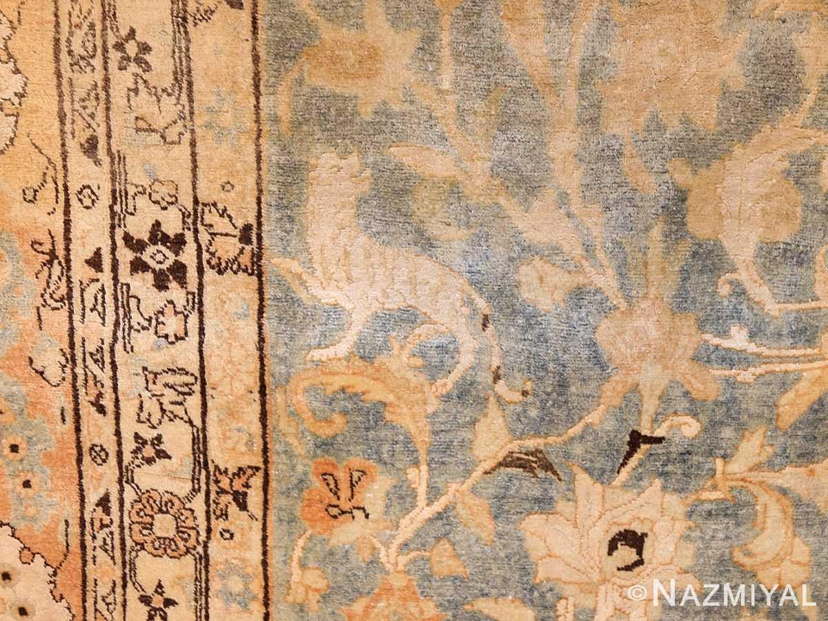 fine silk and wool antique persian tehran rug 48249 white Nazmiyal