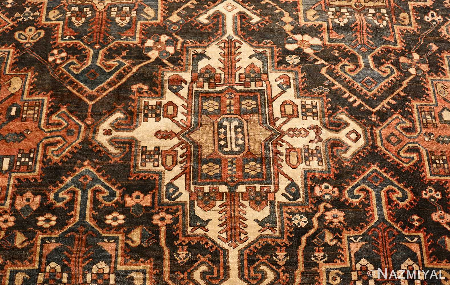 large tribal geometric antique bakhtiari persian carpet 50136 medallion Nazmiyal