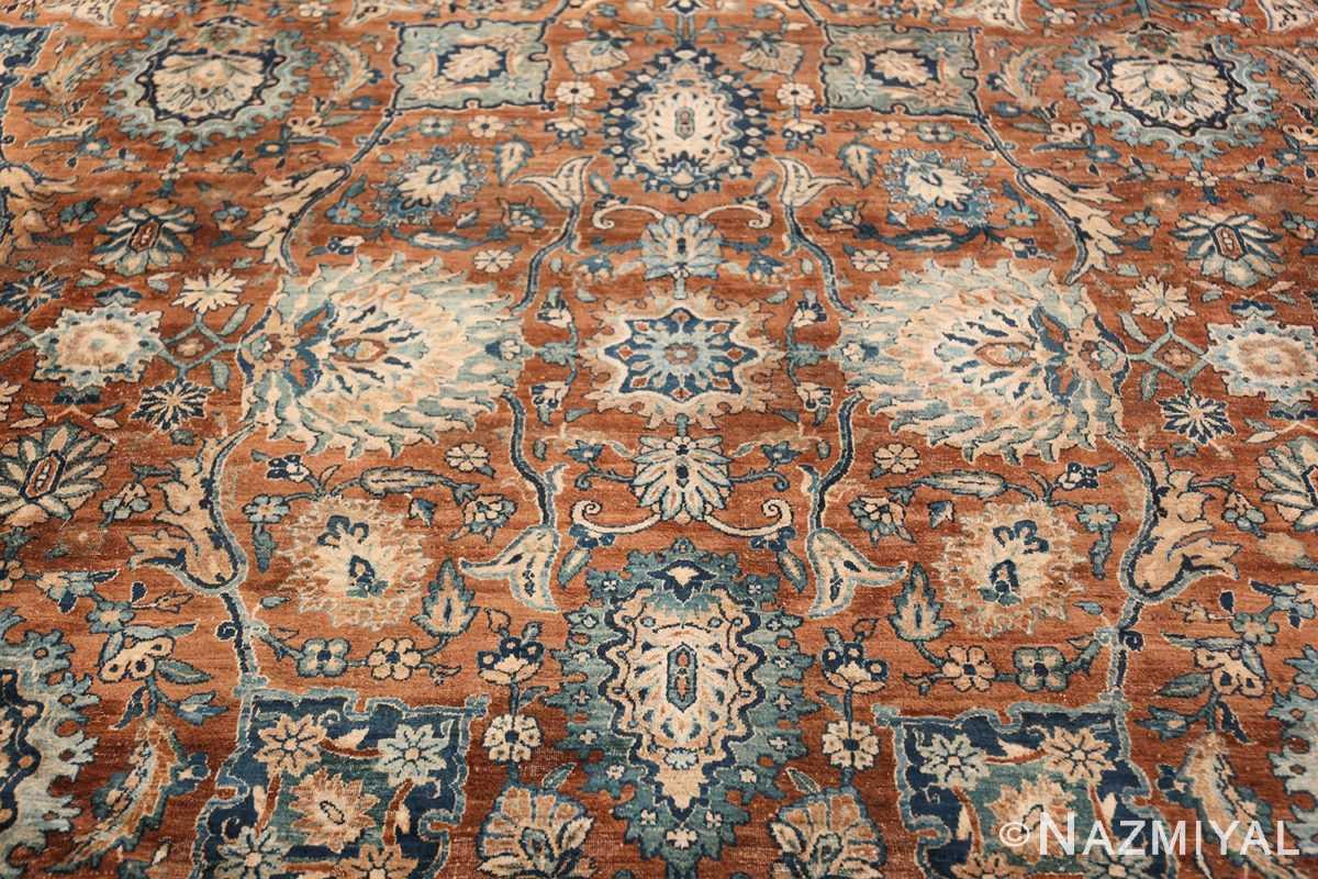 Oversized Antique Persian Kerman Carpet 50192 Blue Central Medallion Nazmiyal