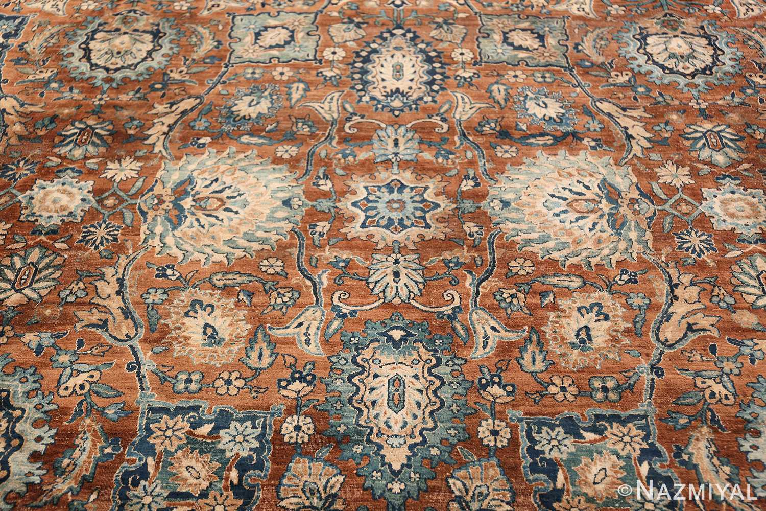 Oversized Antique Persian Kerman Carpet 50192 Blue Central Medallion Nazmiyal