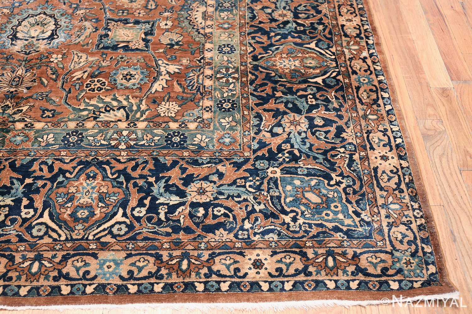 Oversized Antique Persian Kerman Carpet 50192 Side Corner Nazmiyal