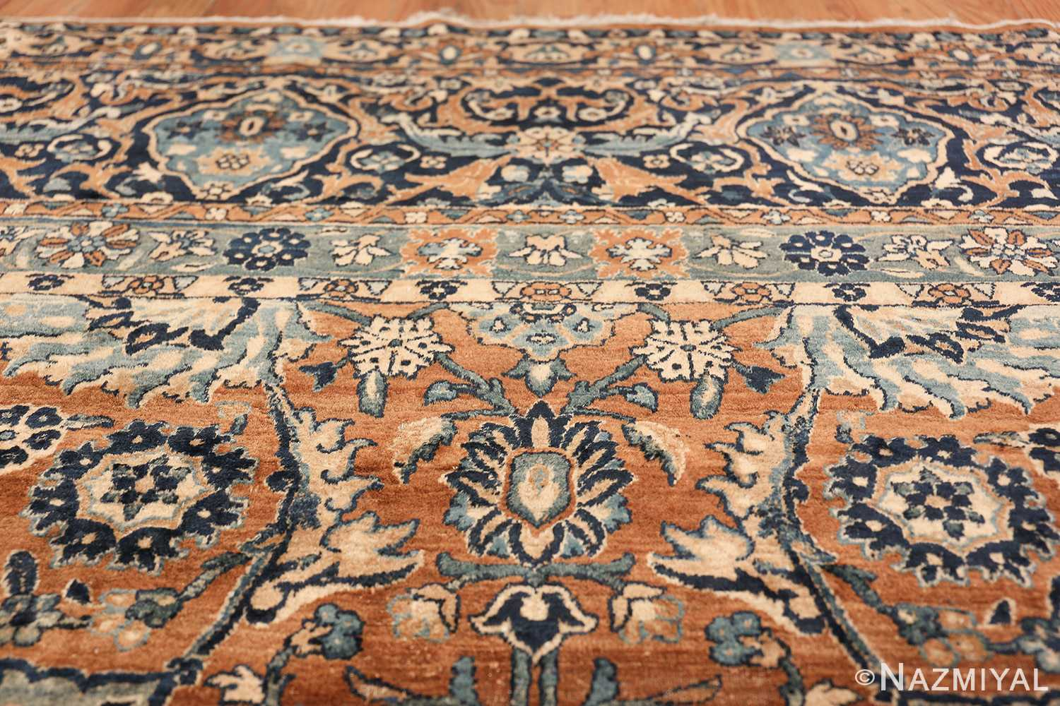 Oversized Antique Persian Kerman Carpet 50192 Upper Border Nazmiyal