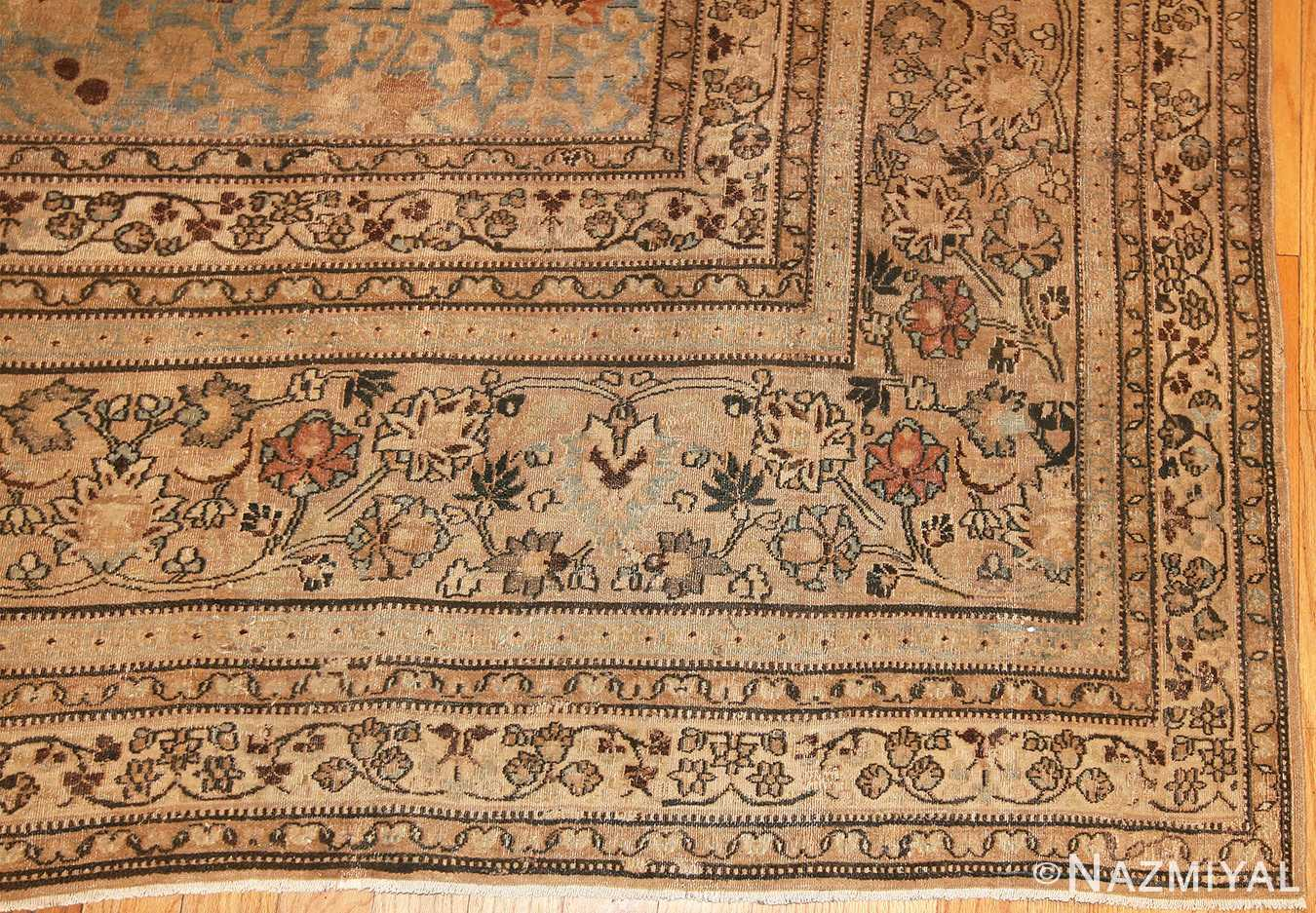 sky blue antique khorassan persian carpet 46929 border Nazmiyal