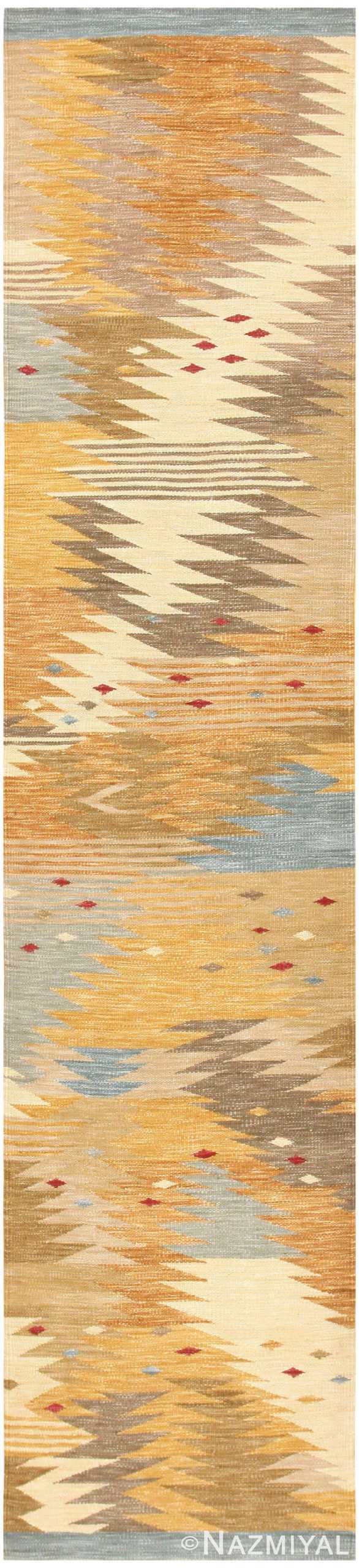 Vintage Swedish Inspired Modern Kilim Runner Rug 48518 by Namziyal