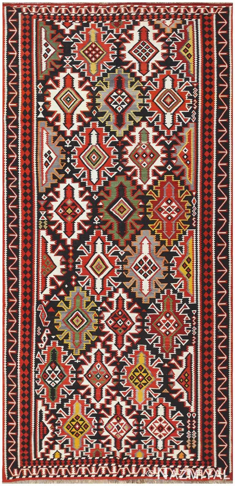 Vintage Caucasian Kilim Rug 50202 Nazmiyal Antique Rugs