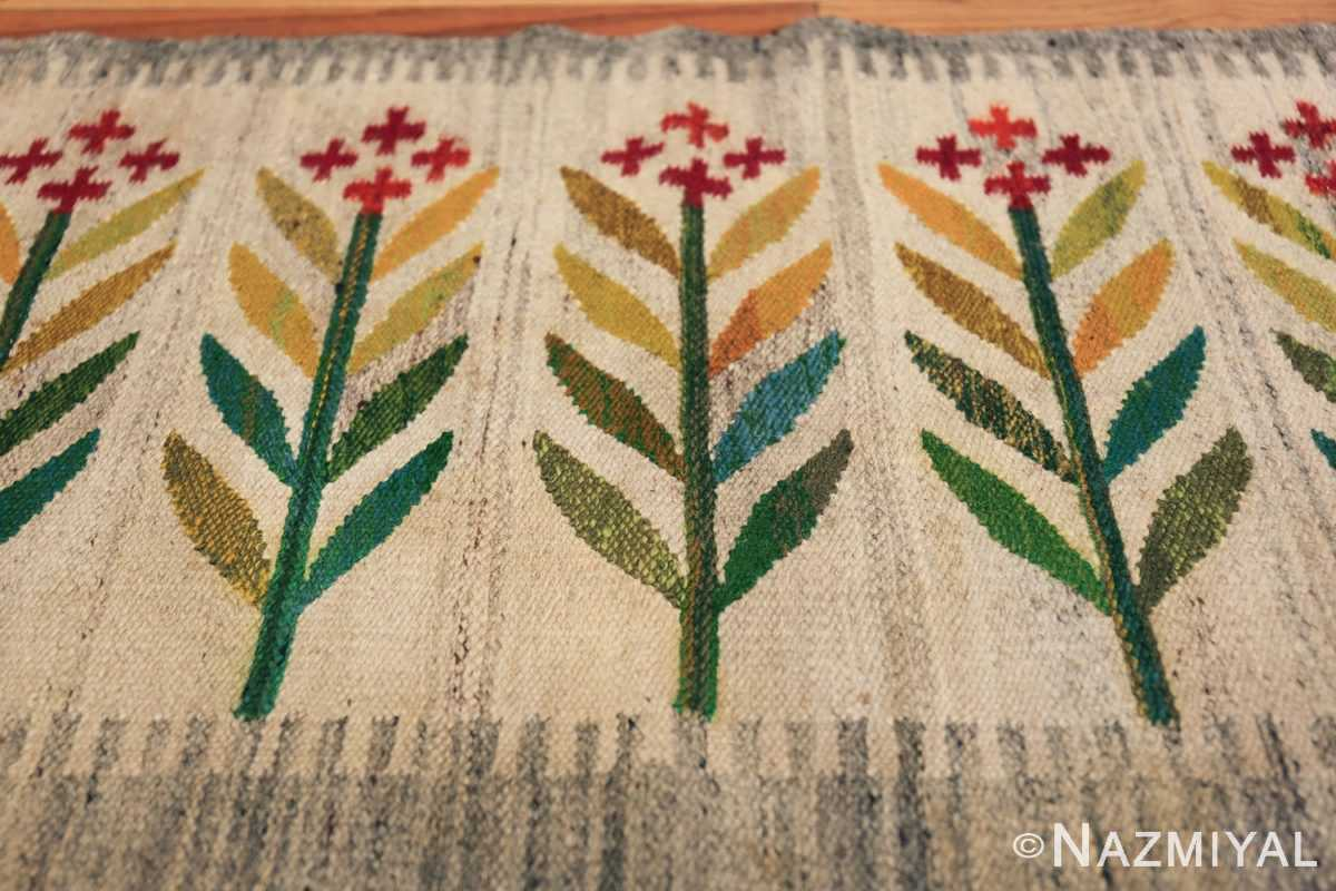 vintage scandinavian swedish carpet 48446 flower Nazmiyal