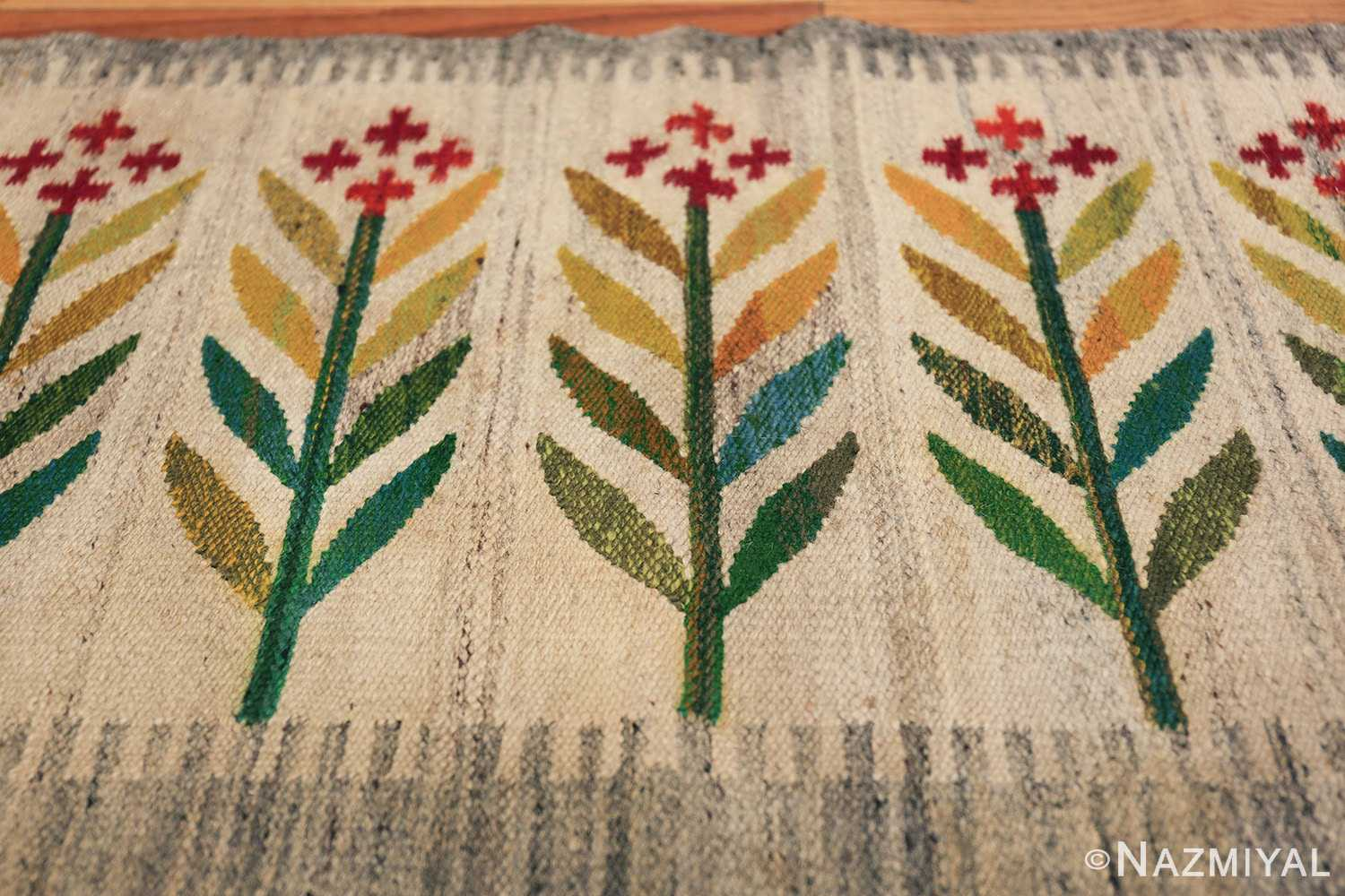 vintage scandinavian swedish carpet 48446 flower Nazmiyal
