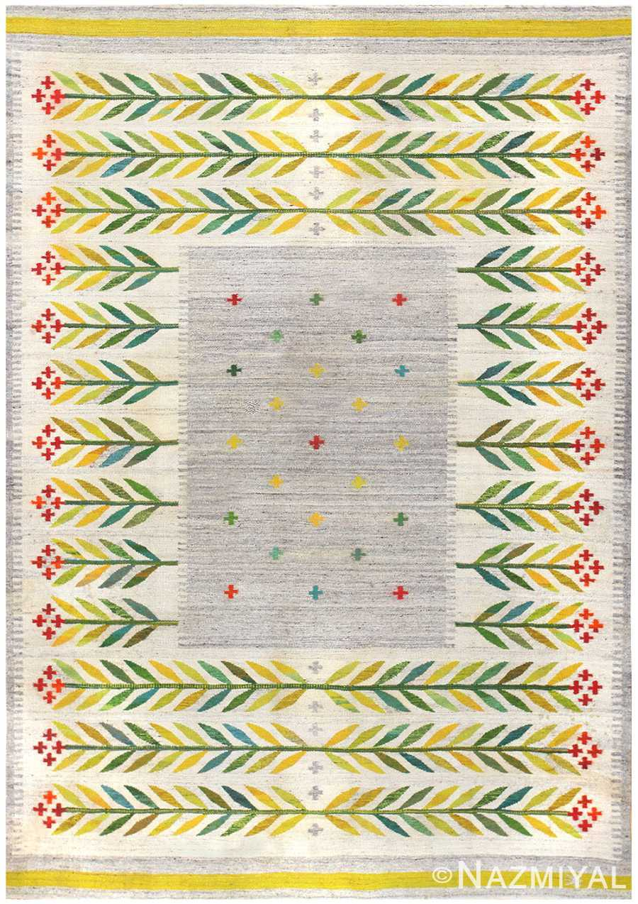 Vintage Scandinavian Swedish Kilim 48446 Nazmiyal