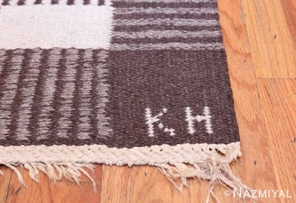 Vintage Swedish Carpet by Klockaregardens Hemslojd 48450 Artist Signature Initials Nazmiyal