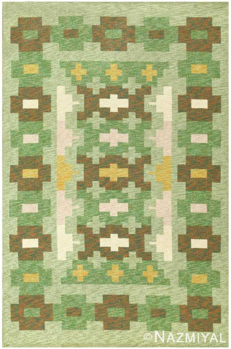 Green Geometric Vintage Swedish Kilim Rug 48454 Nazmiyal Antique Rugs