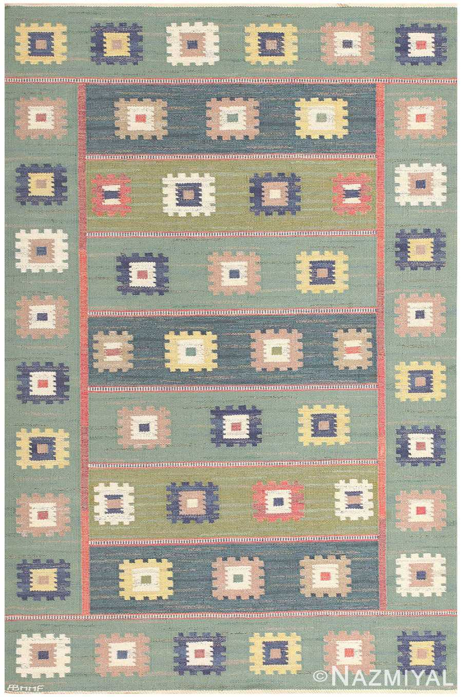 Vintage Swedish Gron Ang Carpet Kilim by Marta Maas Fjetterstrom 48443 Detail/Large View