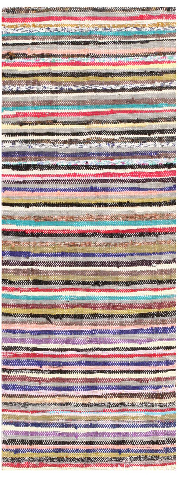 Vintage Swedish Rag Rug 46659 Detail/Large View