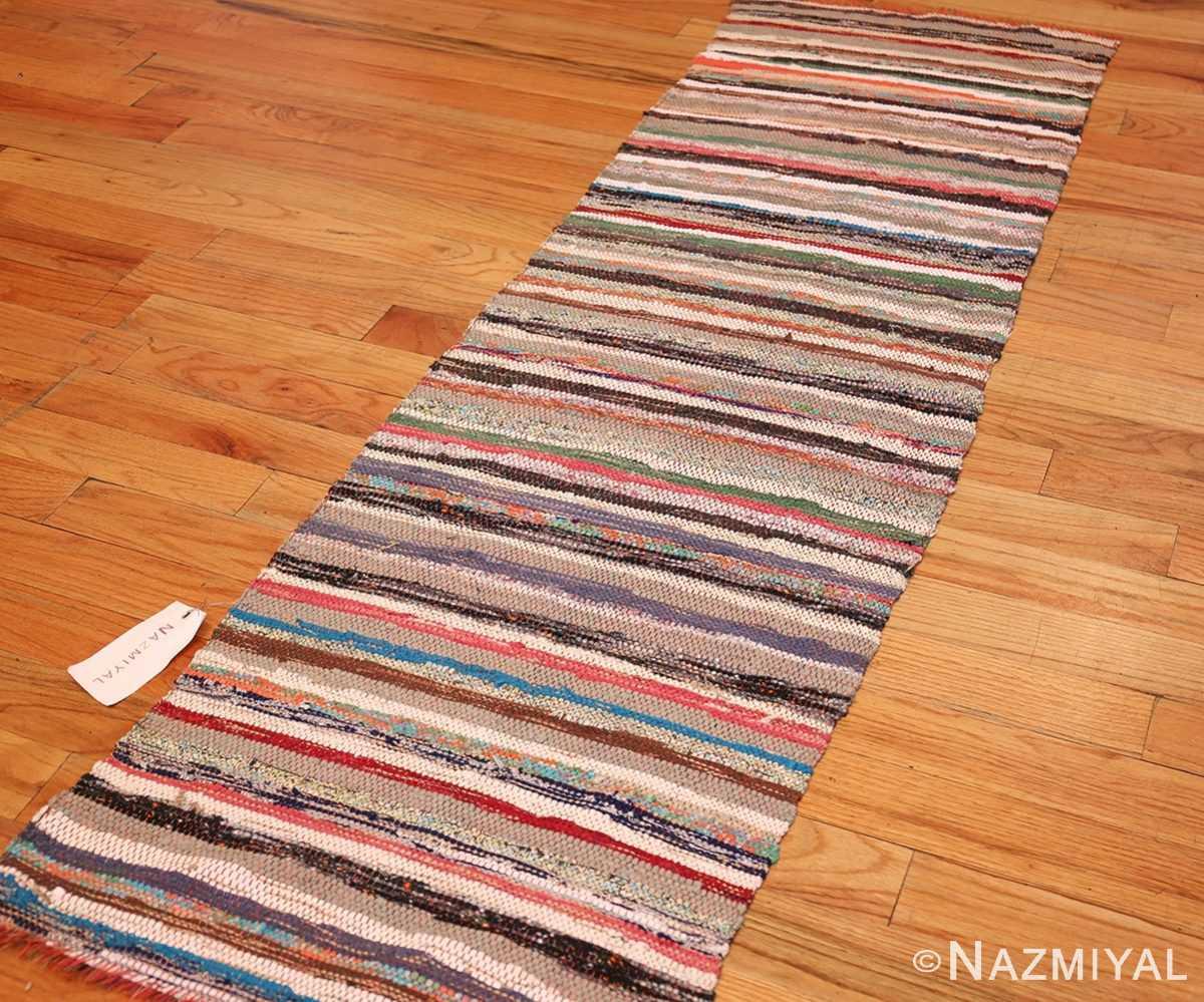 vintage swedish scandinavian runner rag rug 46657 side Nazmiyal
