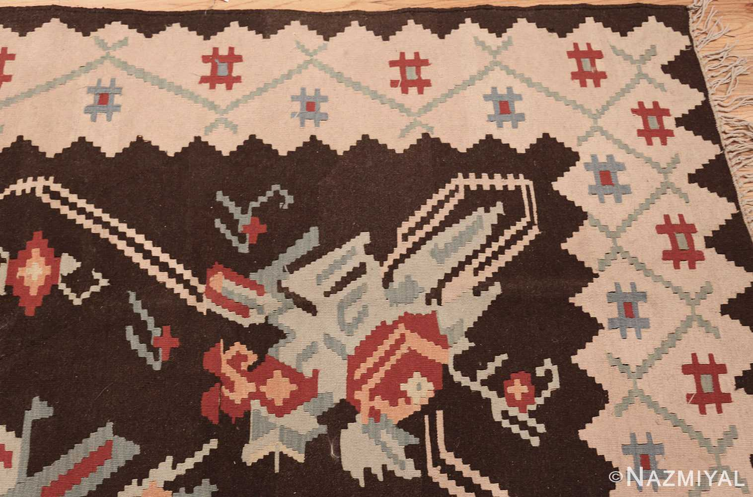 vintage turkish kilim rug 50170 corner edited Nazmiyal