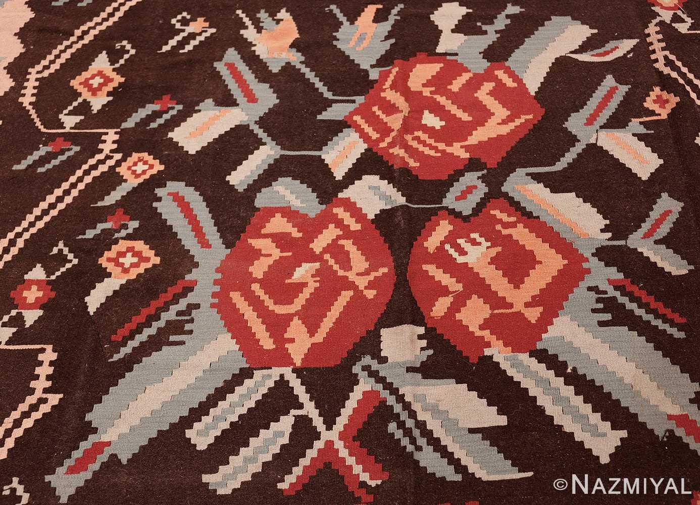 vintage turkish kilim rug 50170 roses edited Nazmiyal