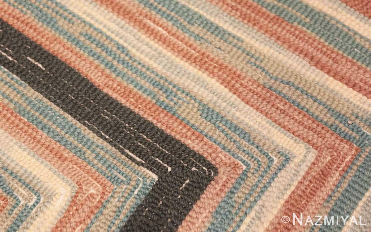 Weave detail Antique American hooked rug 50054 by Nazmiyal