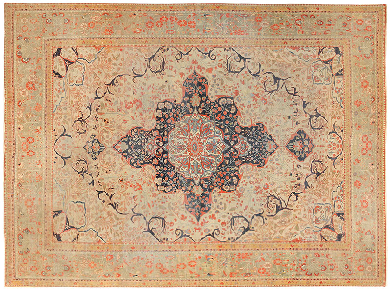 Antique Persian Mohtasham Kashan Carpet 47117