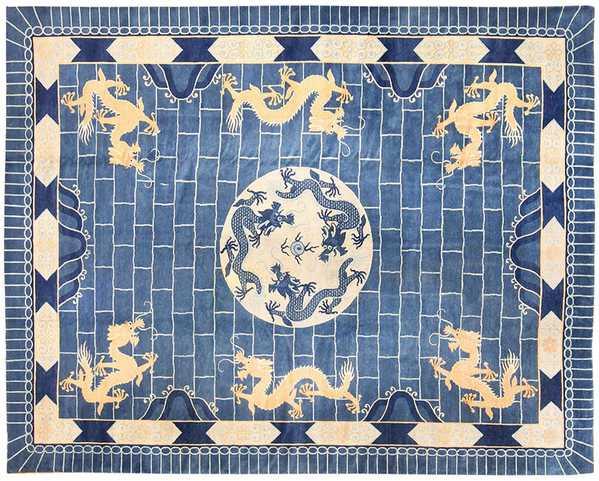 Chinese Dragon Symbolism Art Deco Rug by Nazmiyal