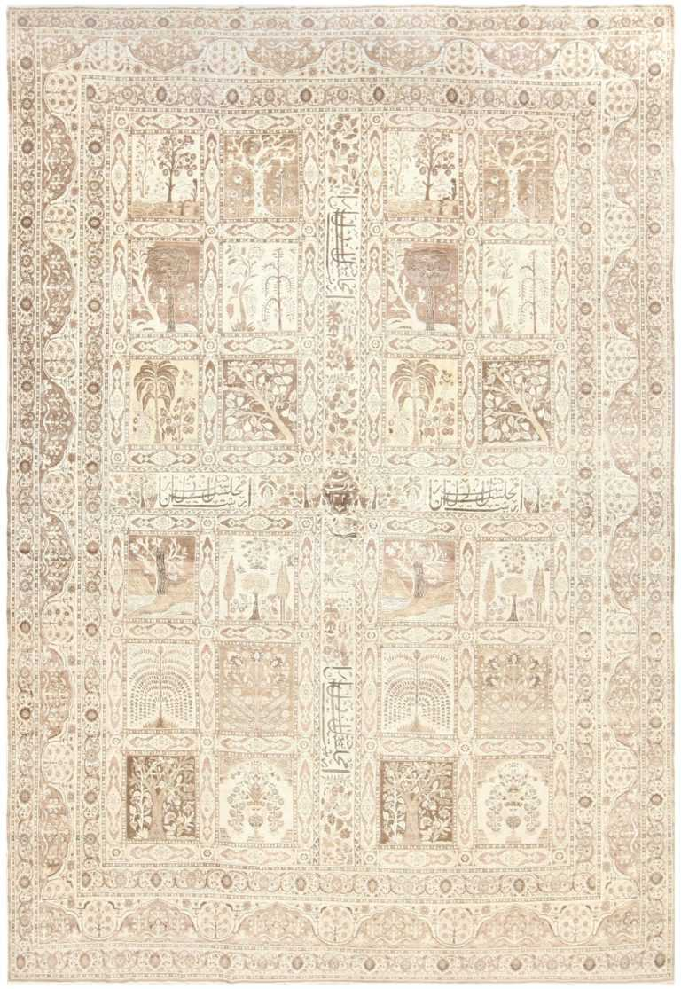 Antique Tabriz Garden Design Persian Rug 50258