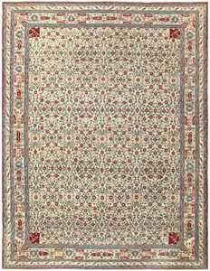 Room Sized Antique Indian Agra Rug 50180 Nazmiyal
