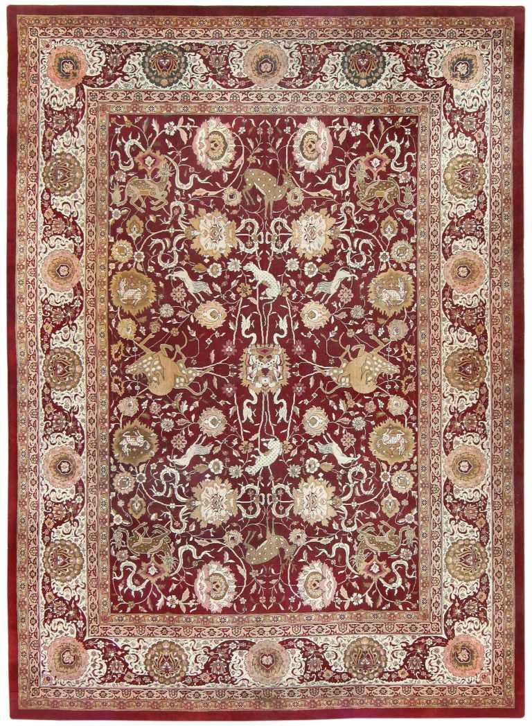 Room Sized Antique Indian Agra Rug 50250 Nazmiyal