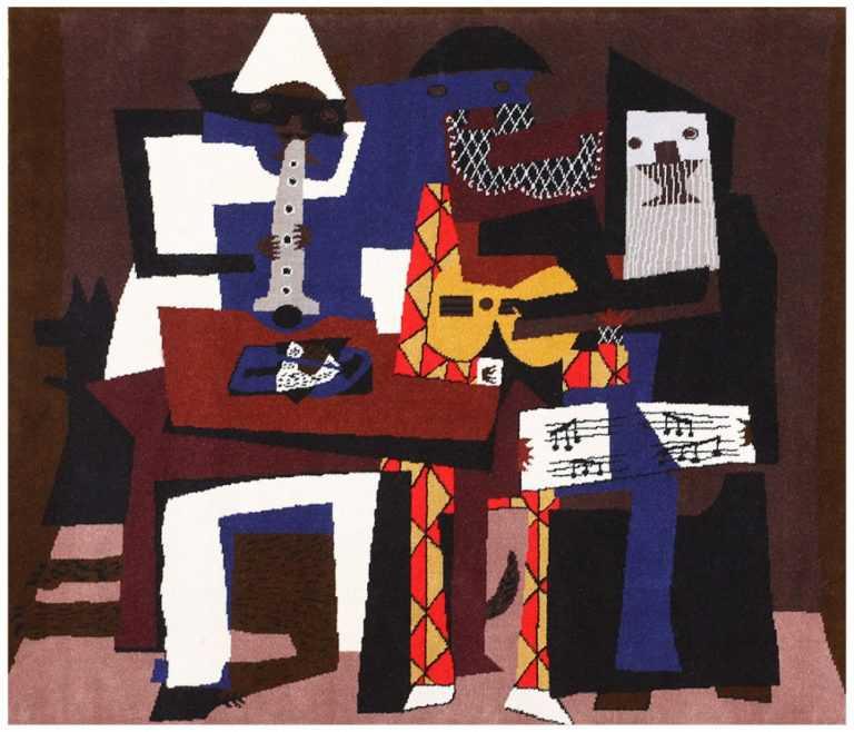 "Vintage ""Musicos Con Mascaras"" Pablo Picasso Carpet 48496 Nazmiyal"