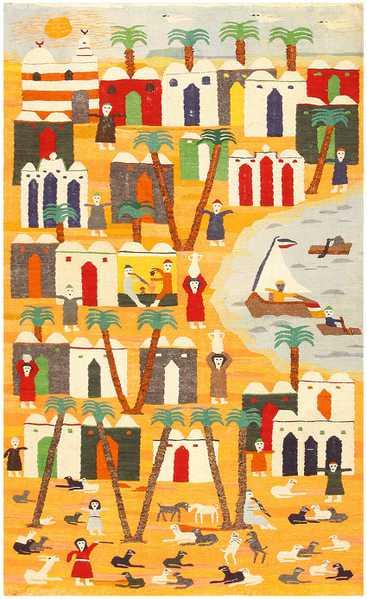 Vintage Swedish Folk Art Tapestry 48251 Nazmiyal