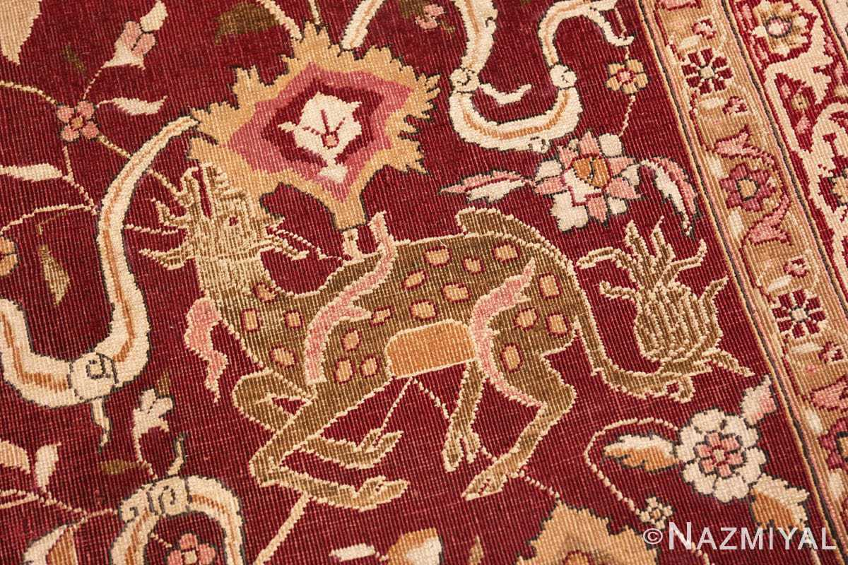 Animal Room size Antique Indian agra rug 50250 by Nazmiyal