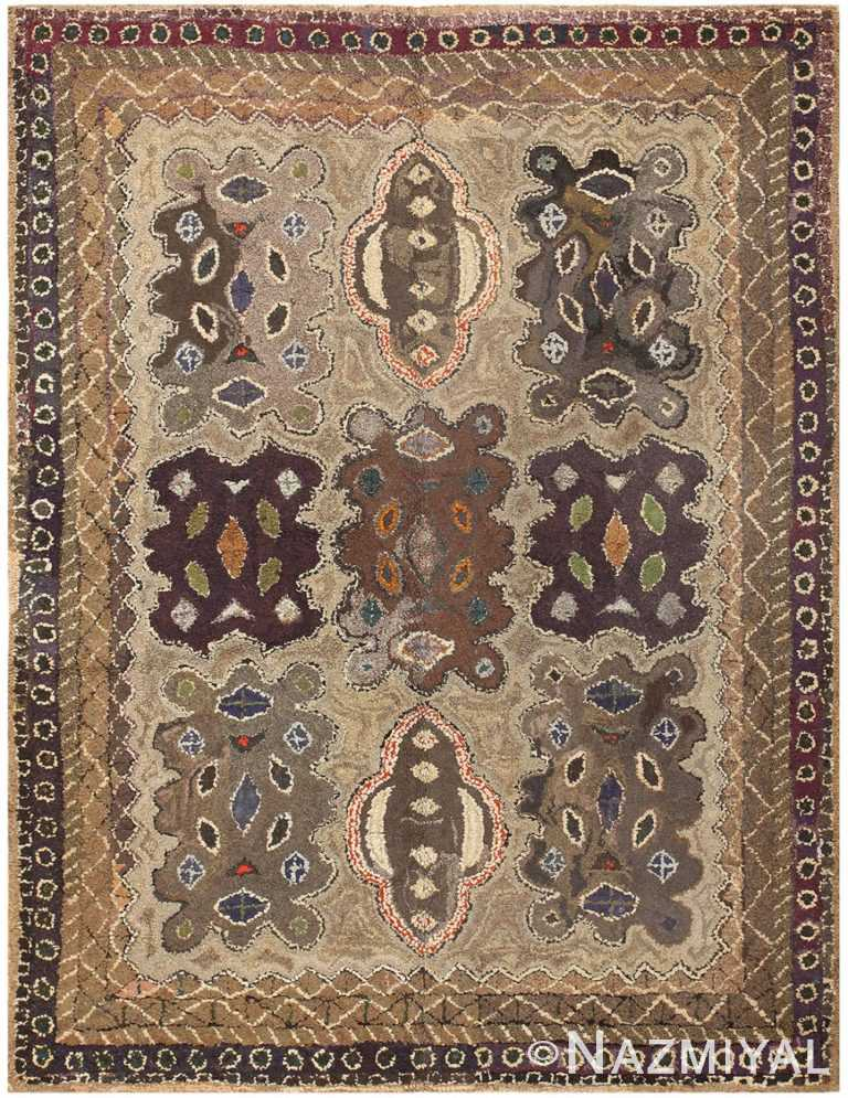 Antique American Hooked Rug 50293 Detail Large View