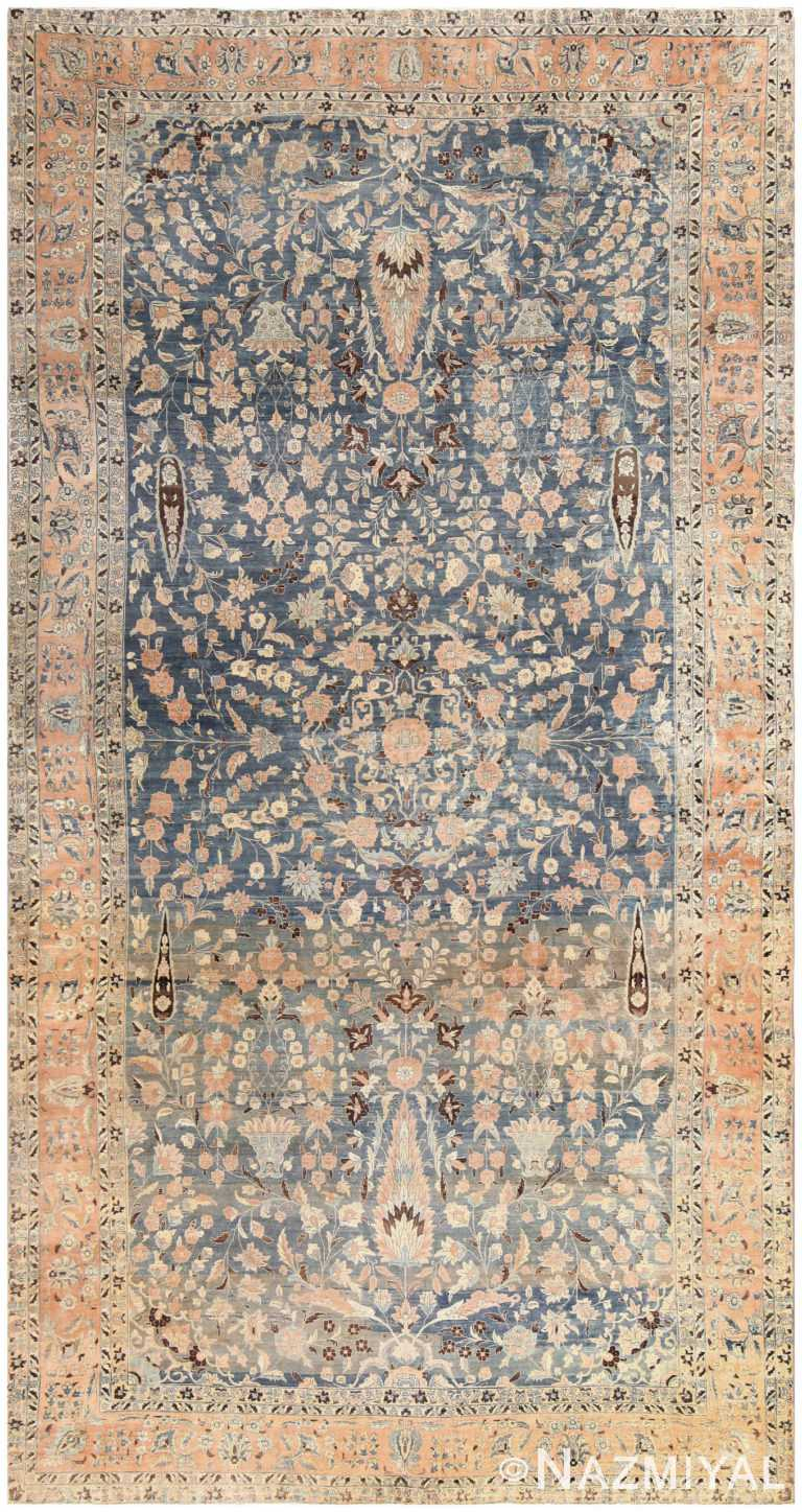 Brown and Light Blue Antique Persian Khorassan Oversized Carpet 48382 Nazmiyal