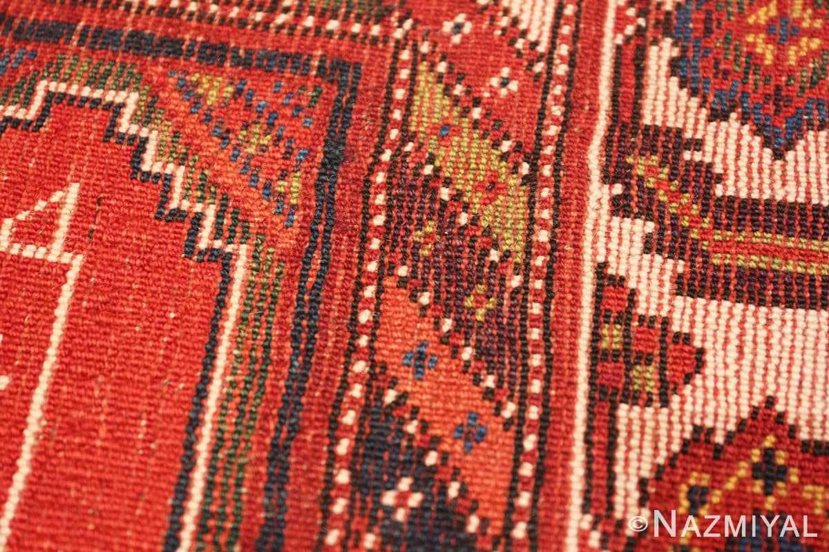 Weave detail Antique red color Persian Ghashgai runner 50301 by Nazmiyal