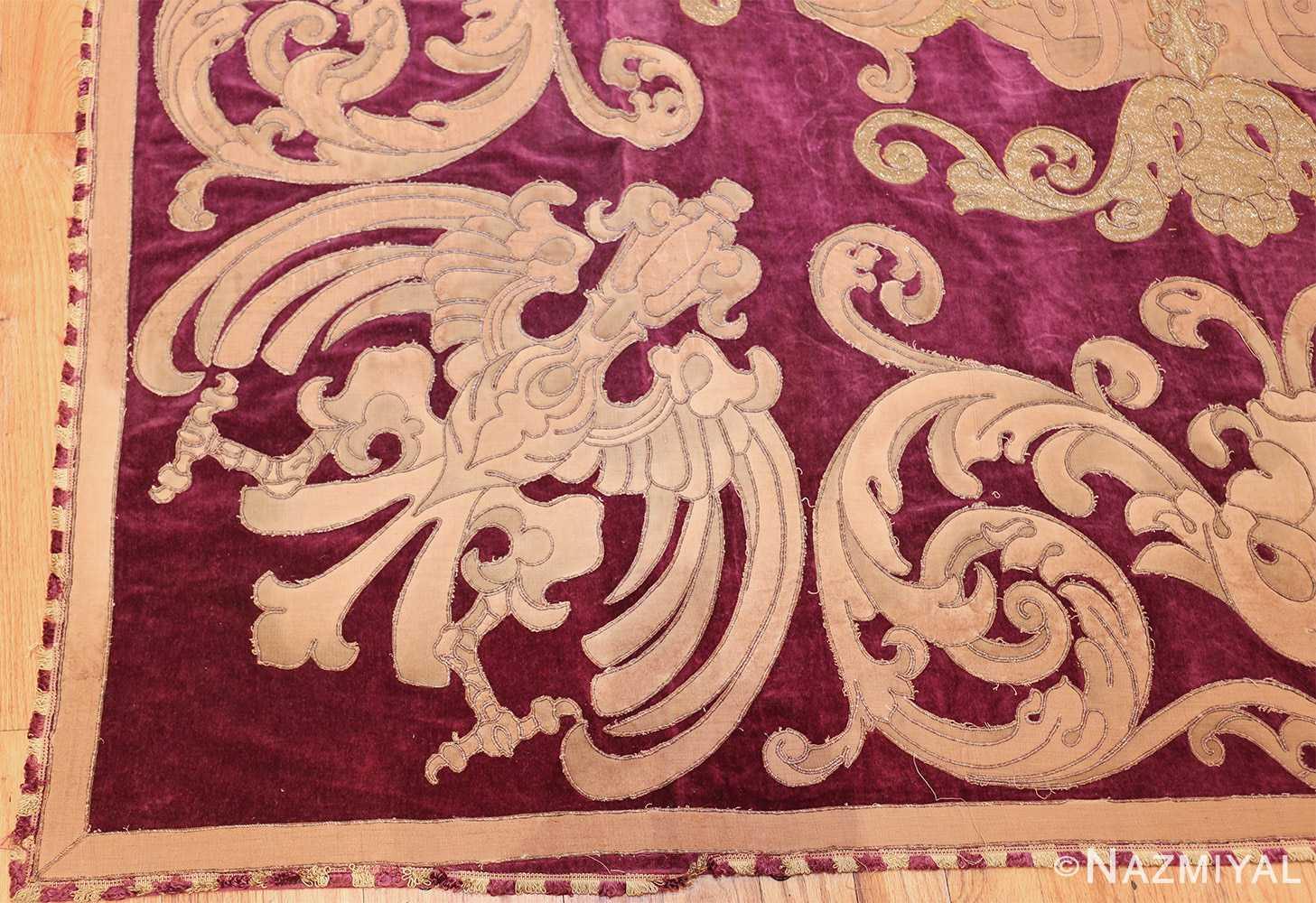 antique spanish tapestry with medallion 50249 corner Nazmiyal
