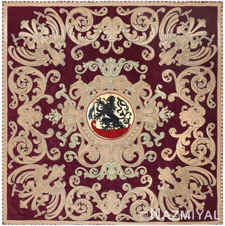 Antique Spanish Tapestry with Medallion 50249 Nazmiyal Antique Rugs