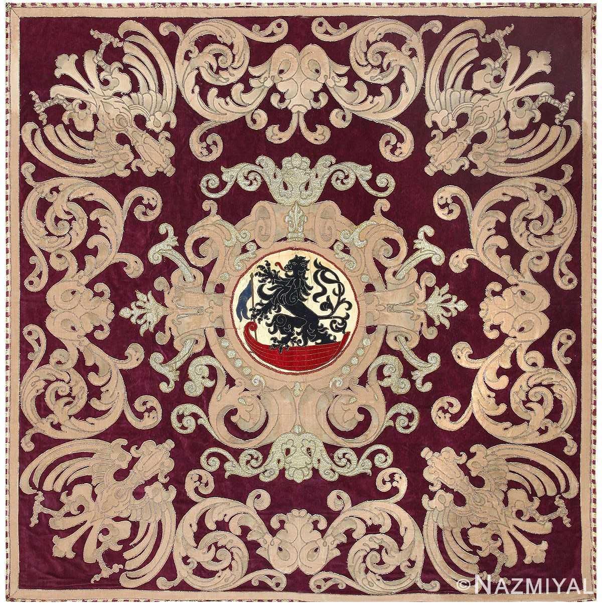 Antique Spanish Tapestry with Medallion 50249 Nazmiyal
