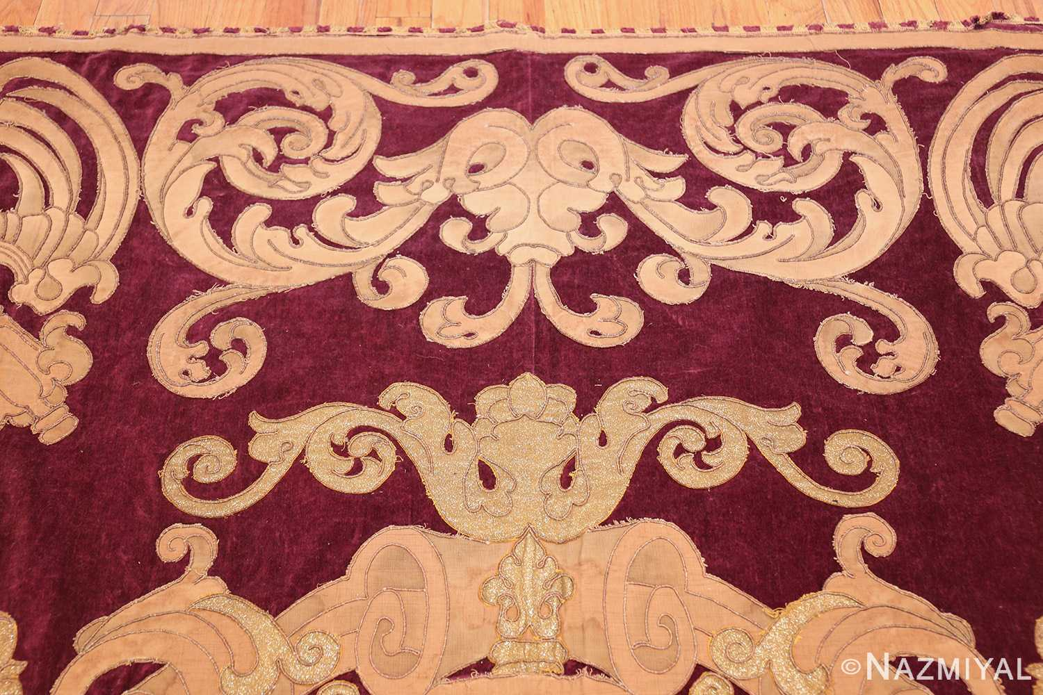 antique spanish tapestry with medallion 50249 top Nazmiyal