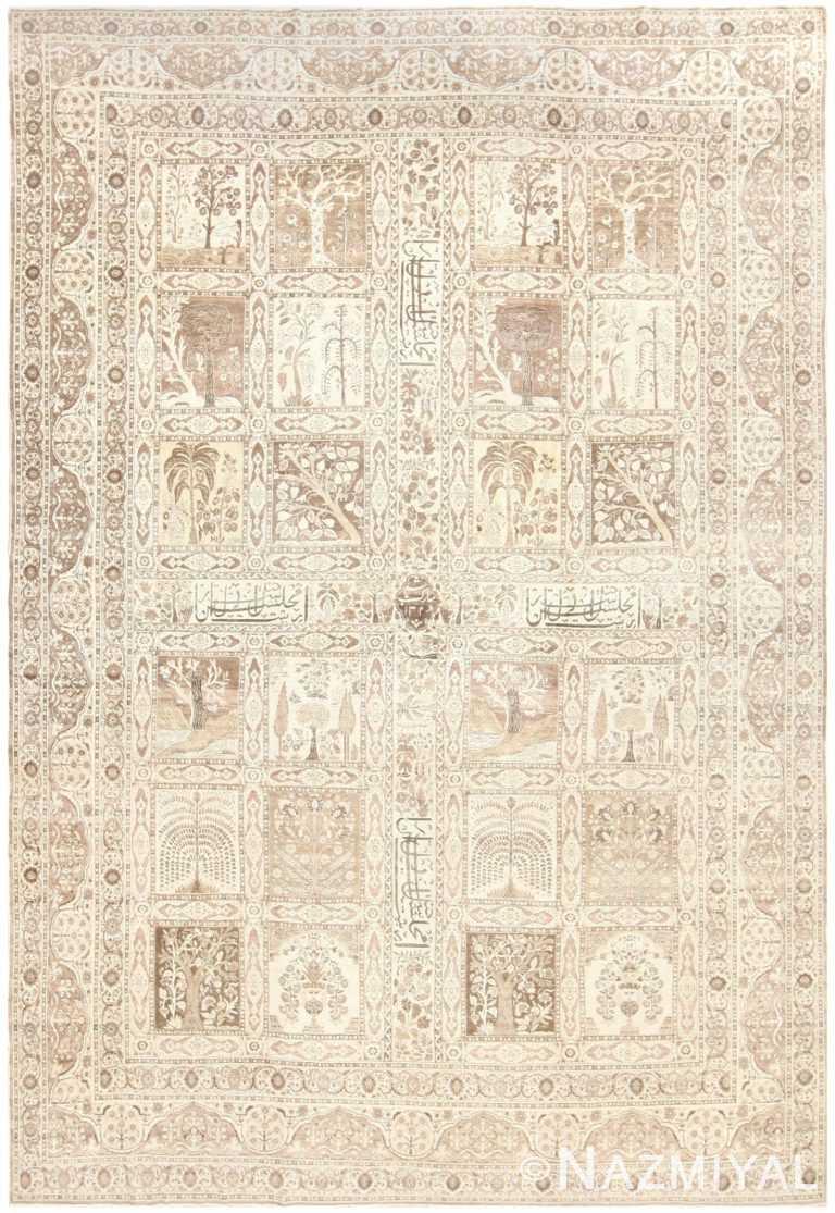 Antique Tabriz Garden Design Persian Rug 50258