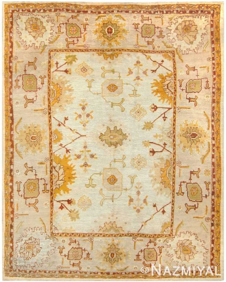 Decorative Room Size Antique Turkish Oushak Carpet #70776 by Nazmiyal Antique Rugs